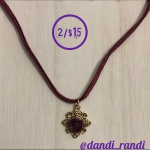 Rose Pendant on Maroon Leather Necklace